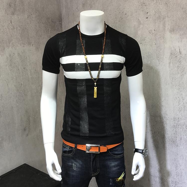 短袖青年潮流圆领针织镂空夏季时尚男装个性