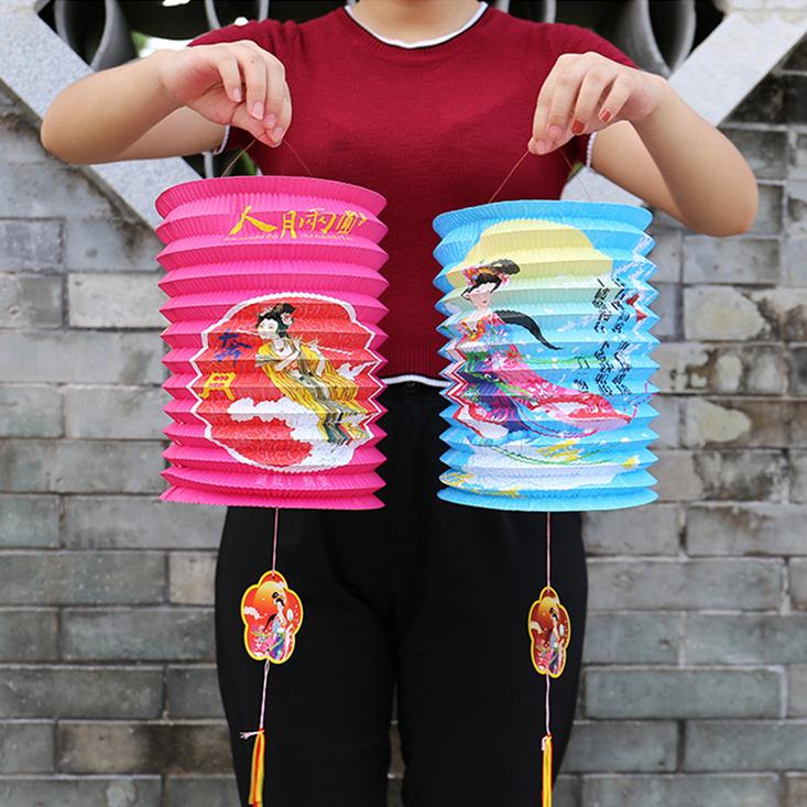 中秋国庆元宵节日折叠灯笼 幼儿园儿童手提卡通风琴led传统纸灯笼