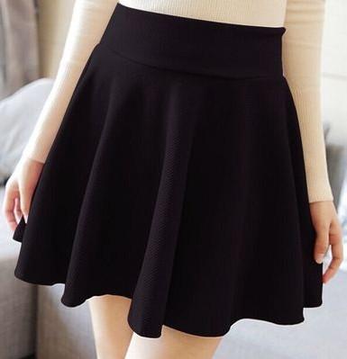 夏新款高腰宽松打底裙韩版大摆太阳裙百褶裙女装短裙半身裙子