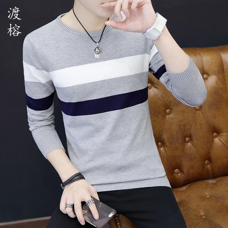 秋冬季男士毛衣圆领修身衣服青少年加绒加厚长袖打底针织衫上衣潮