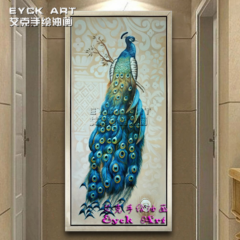 纯手绘欧式客厅油画美式孔雀玄关装饰画竖版走廊过道