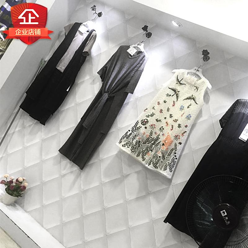 现代简约时尚复古3d立体墙纸装修白色软包素色韩式女装服装店壁纸