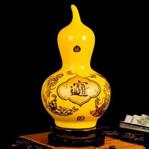 景德镇欢畅陶瓷器中国红金牡丹花瓶 葫芦瓶赏瓶 客厅花瓶摆件f015
