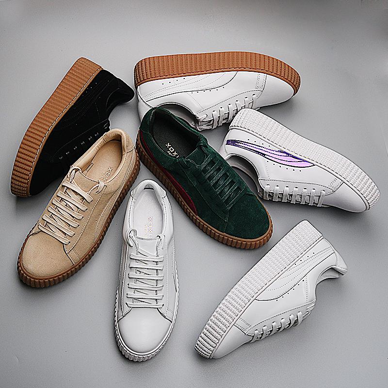百搭韓版單鞋小白鞋女蕾哈娜松糕鞋厚底真皮運動羊皮