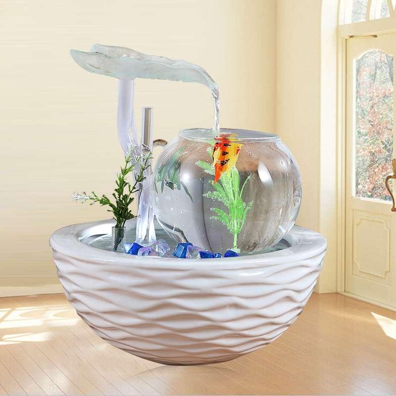装饰品摆设喷泉风水池工艺品摆件简约现代玻璃陶瓷流水创意家居