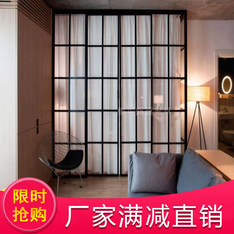 北欧简约铁艺屏风隔断服装店纱窗装饰客厅餐厅门窗框架定做矮定制图片