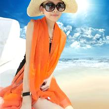 韩版纯色棉麻围巾防晒丝巾沙滩巾春秋季长款两用大披肩女纱巾夏天