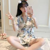 小清新家居服薄款 甜美夏天针织棉大码 夏季日系和服睡衣女花卉短袖