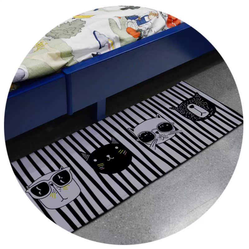 现代彩色三角几何卡通黑白猫钢琴地毯卧室进门垫床边