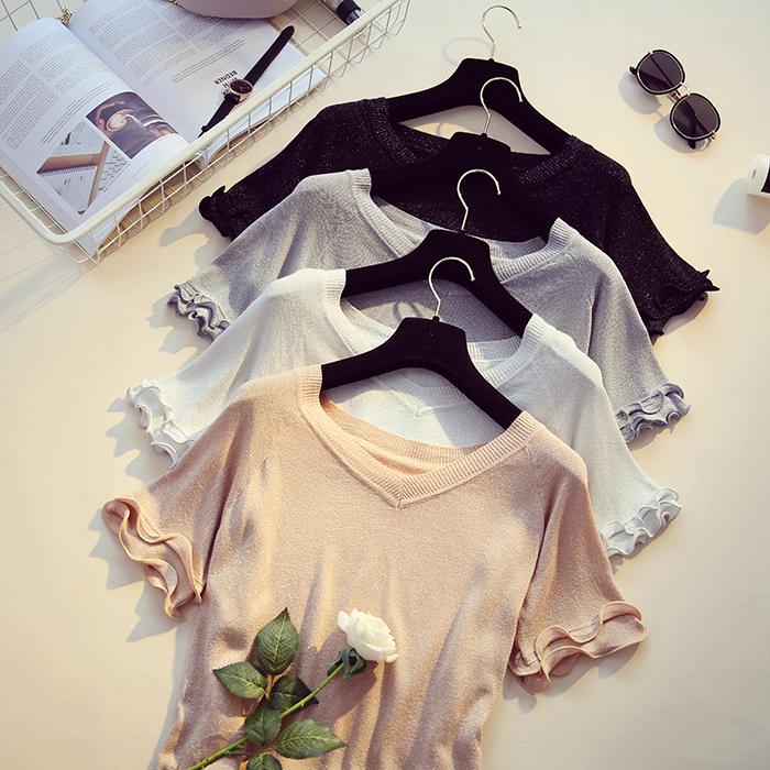 宽松夏装打底针织短袖体恤上衣恤衫