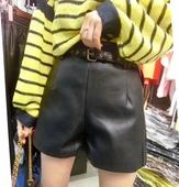 2017秋季新款皮阔腿裤高腰显瘦休闲裤时尚百搭PU皮短裤靴裤配腰带