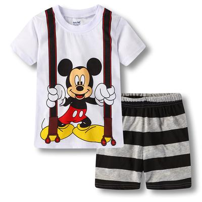 夏季热卖短袖男童纯棉米奇家居服童装夏款T恤套装空调服卡通睡衣