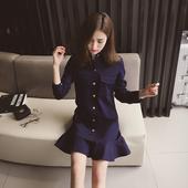 2017春季新款韩版修身纯色牛仔连衣裙女装百搭气质显瘦a字短裙子