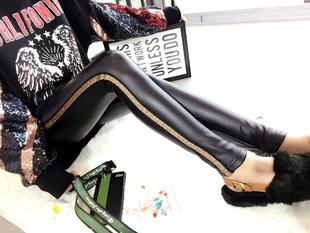 欧洲站美丽阁冬季新款女装紧身皮裤小脚裤修身高腰加绒外穿打底裤
