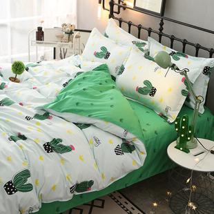 简约水果仙人掌菠萝四件套时尚床上用品北欧宜家单人宿舍床三件套