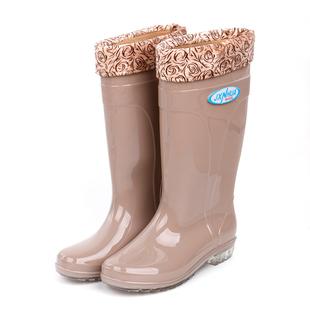 韩国时尚雨鞋女秋冬高筒防滑水靴保暖加棉绒雨靴女式工作水鞋胶鞋