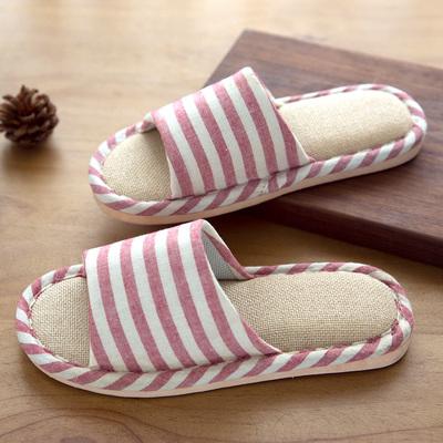 木地板亚麻拖鞋居家夏季男女棉麻情侣防滑软底条纹