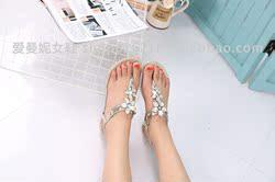 凉鞋水钻平底韩版女鞋
