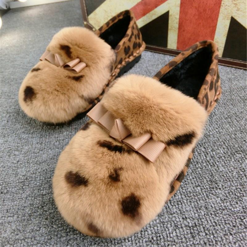 韩版新款春季蝴蝶结兔毛豹纹浅口加绒棉瓢鞋单女鞋豆豆鞋时尚潮鞋