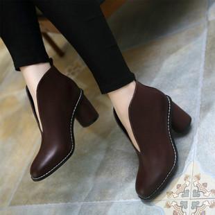 秋季V口短靴女士2017新款及踝靴简约单靴子粗跟圆头高跟裸靴冬