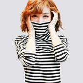 2017春秋新款 韩版 棉 高领条纹打底衫修身加厚长袖t恤女显瘦上衣