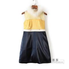 亦系列春秋装专柜品牌女装藏青色毛毛领无袖韩版时尚连衣裙 27417