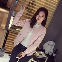 琇嬛-em56 新款2016春装韩版女装立领纯色百搭长袖棒球服外套A-21