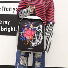 韩版潮流印花帆布双肩包女日系原宿风休闲背包时尚学生书包电脑包