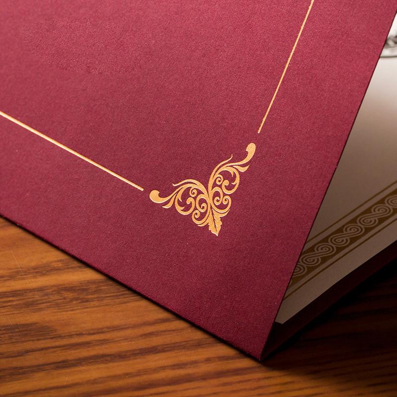 欧式单线烫金高雅文件封套a4荣誉证书封皮夹