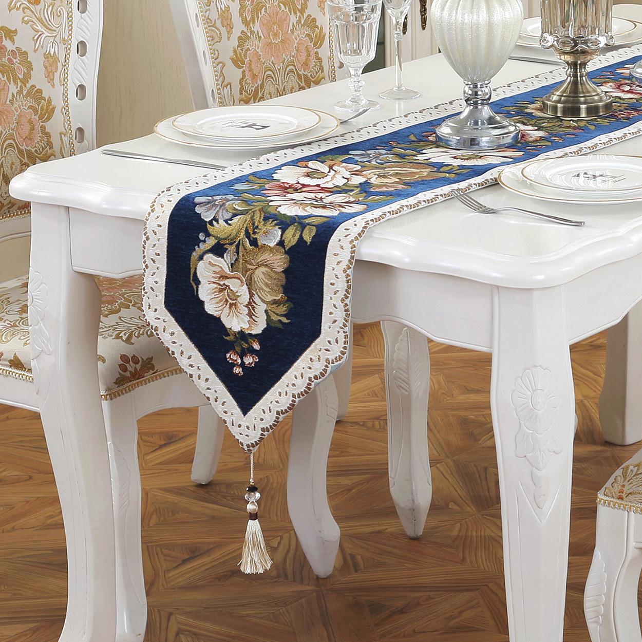 美式桌旗床尾巾家风布艺客厅套装床旗华中桌布茶几布电视长条布