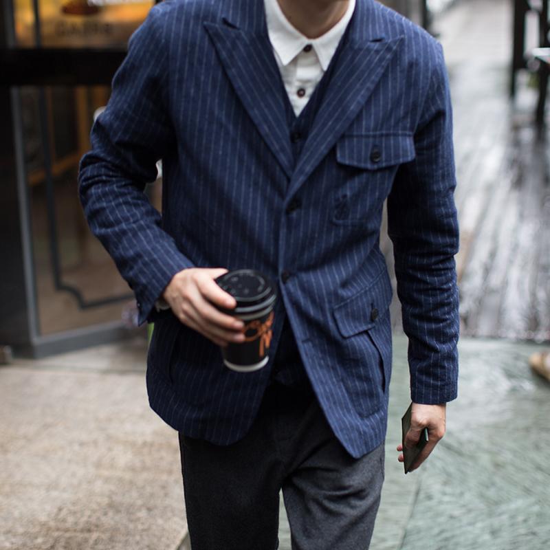 几立|有点小帅~双色条纹西服 休闲便西 英伦修身小西装男上衣