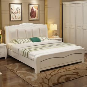 欧式全实木床白色软靠床 橡胶橡木双人床皮靠背 高箱储物床婚床