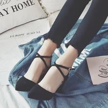 女绒面粗跟黑色百搭韩版 绑带单鞋 一字扣尖头高跟鞋 2017春季新款