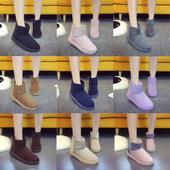 秋冬款雪地靴女平底短筒靴子加厚加绒保暖棉靴学生靴简约女靴棉鞋
