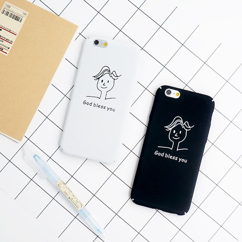 简笔画人头像 iphone6Plus简约手机壳 苹果6s情侣磨砂保护硬套