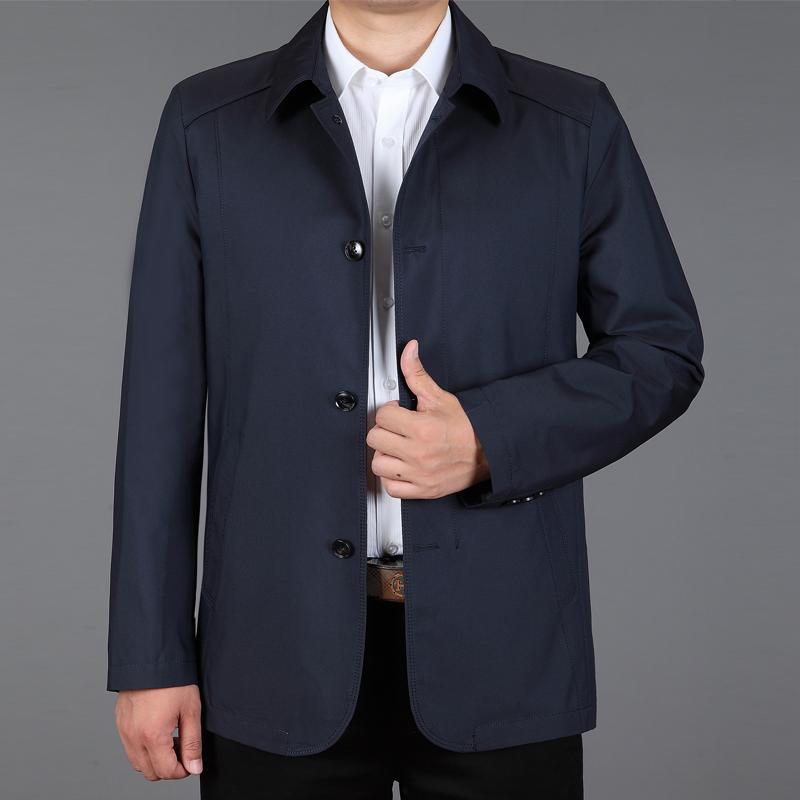 新款夹克中年男春秋薄款休闲外套中老年翻领茄克衫大码纯棉爸爸装
