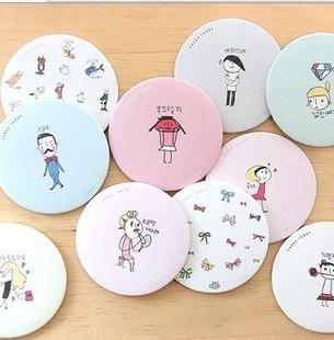 韩国卡通小圆镜随身镜创意送礼便携化妆镜可爱女生小