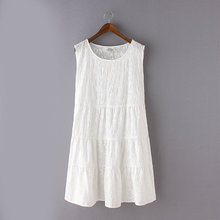 白色娃娃连衣裙胖mm中长款 吊带棉麻背心女打底裙 夏季休闲宽松无袖