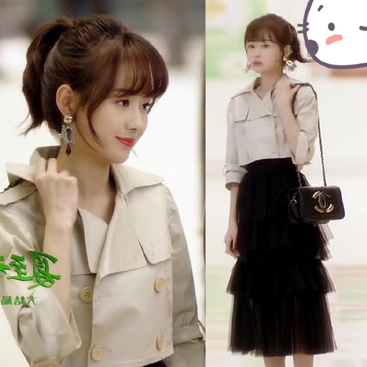 夏至未至郑合惠子明星同款韩版短款双排扣风衣毛呢外套网纱半身裙