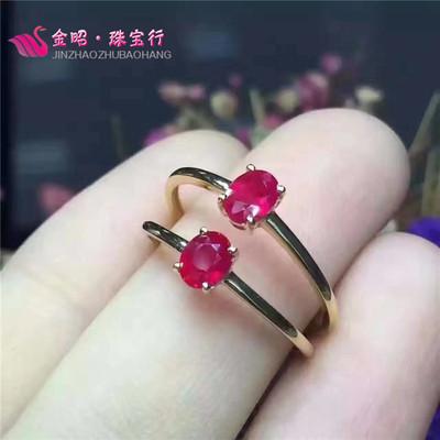 天天特价925银镀黄金镶天然缅甸红宝石戒指女鸽血红宝石支持质检