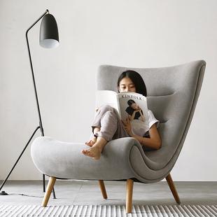 蜗牛椅单人沙发北欧实木创意休闲布艺阳台卧室小懒人沙发椅老虎椅