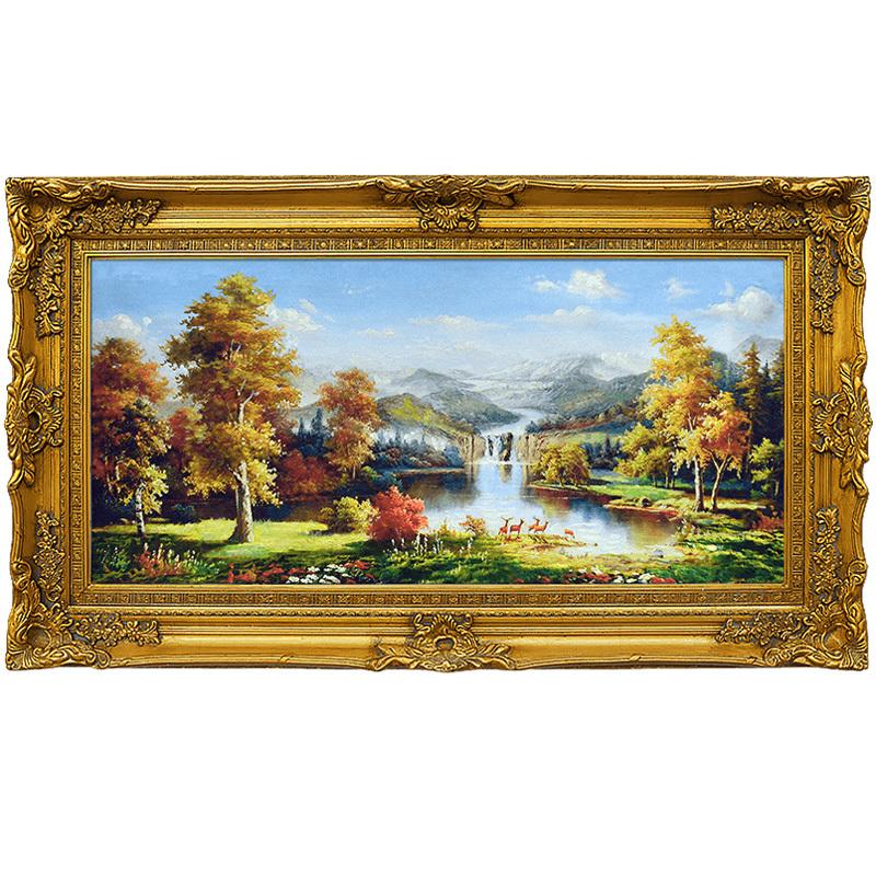 华艺源欧式手绘山水风景油画客厅装饰画美式玄关壁画