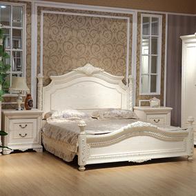 欧式床实木床1.8米1.5白色田园双人床仿古奢华雕花床法式婚床主卧