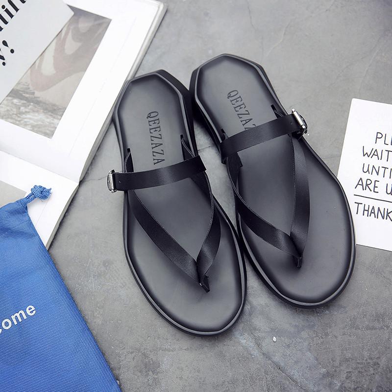 编制二层牛皮胶粘鞋人字拖平跟青年纯色二层猪皮橡胶流行男鞋拖鞋