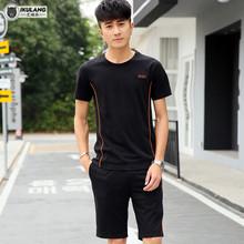 男士运动套装夏季晨跑步服运动衣服装休闲短袖五分短裤健身两件套