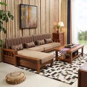 中式全实木沙发组合橡木沙发带垫转角现代简约客厅家具贵妃小户型