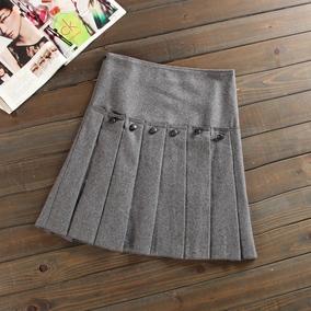 2017春季新款女装女裙自然腰A型纯色蛋糕裙羊毛毛呢中裙半身裙