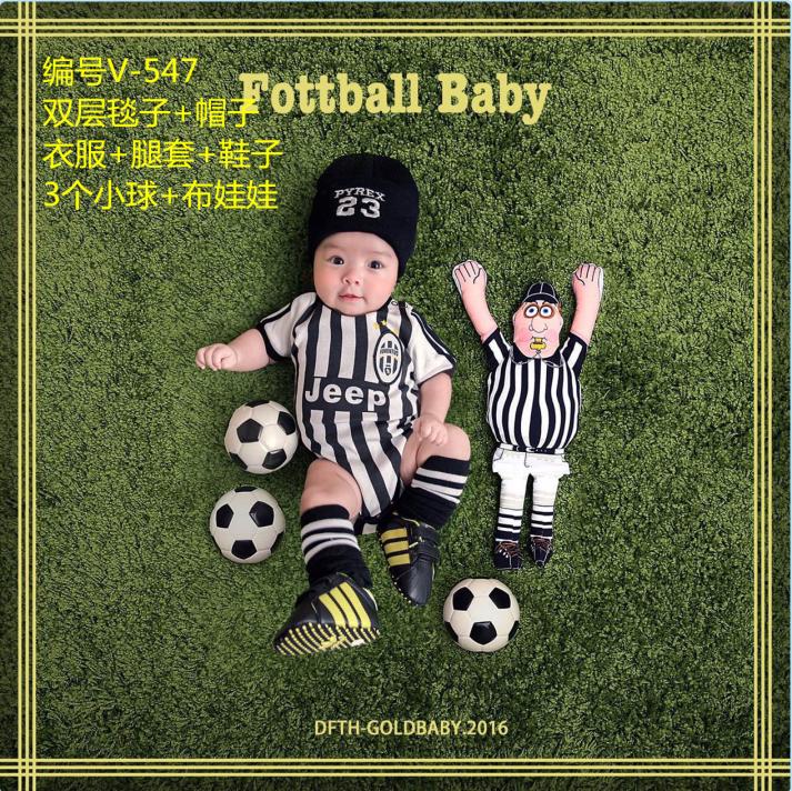 2016儿童摄影服装新款 百天半岁棒球足球宝宝拍照毯影楼主题服饰