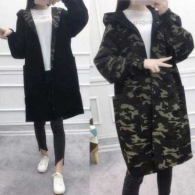 2017秋季新款韩版学生宽松大码BF迷彩两面穿风衣女中长款连帽外套