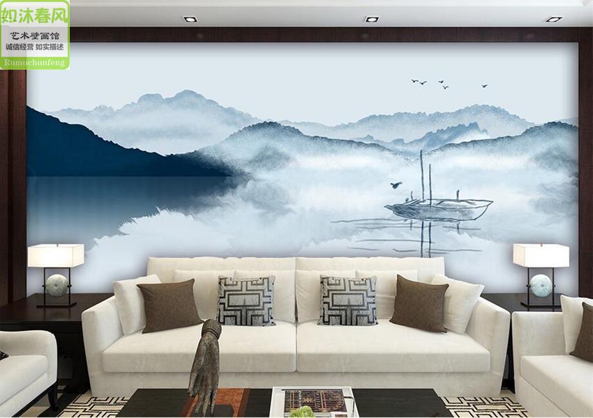 立体壁画新中式抽象水墨山水电视背景墙纸卧室沙发墙布无缝壁纸 3D